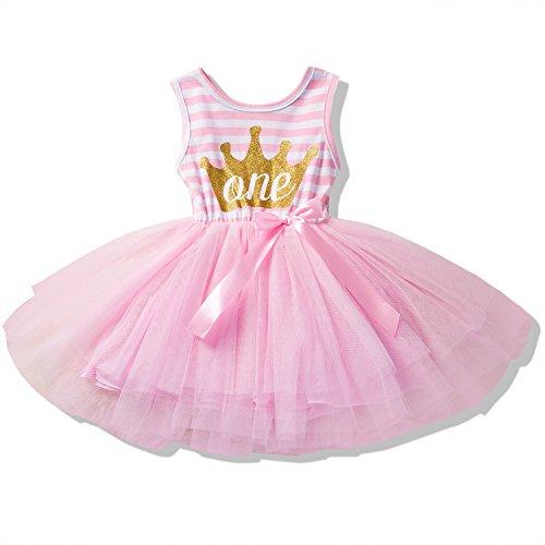 NNJXD Girl Shinny Stripe Baby Girl Sleeveless Printed Tutu Dress Size (80) 10-12 Months GoldΠnk