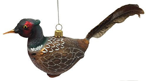 Pheasant Bird with Feather Tail Polish Glass Christmas Tree Ornament Animal