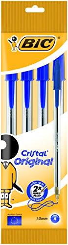 BIC Kugelschreiber Cristal Medium, Strichstärke: 0,4 mm und Kugeldurchmesser: 1,0 mm, Beutel 4 Stück, blau