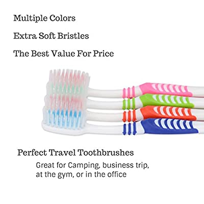G-Smile 144 Individually Wrapped Disposable Toothbrushes, Regular Size Head, Extra Soft Bristle, Color Vary, Convenient & Affordable