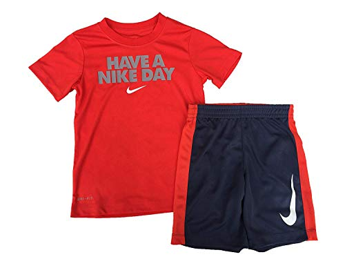 - NIKE Toddler Boys' Dri Fit Short Sleeve T-Shirt and Short 2 Piece Set (Habanero Red(86D622-R4Y)/University Red, 18 Months)