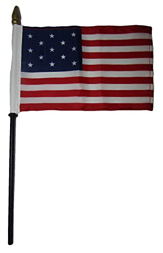(ALBATROS 12 13 Star Linear USA 4 inch x 6 inch Flag Desk Set Table Wooden Stick Staff for Home and Parades, Official Party, All Weather Indoors Outdoors)