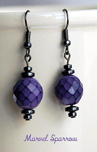 Languid Lavender Purple Diamond Pattern Earrings w/ Magnetic Hematite Stone, Gunmetal, Dark Gray, Flower Floral Magenta (Hematite Pattern Earrings)
