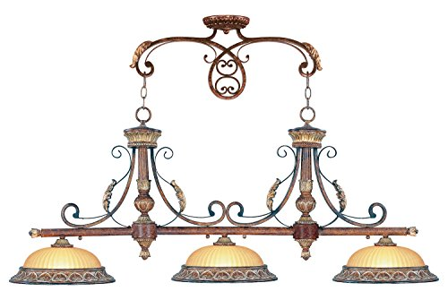 (Verona Bronze 3 Light 300W Island/Billiard Light with Medium Bulb Base and Rustic Art Glass from Villa Verona)