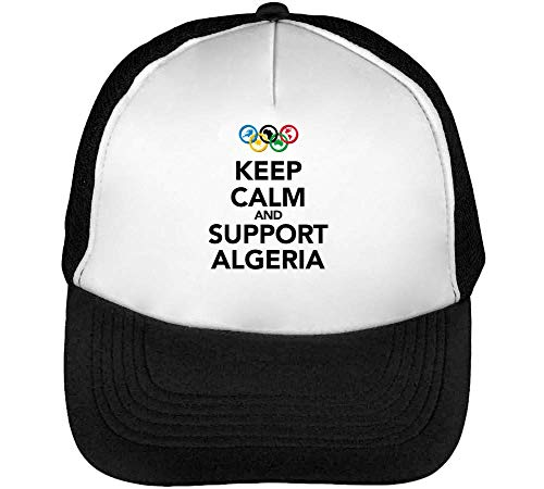 Keep Calm Support Algeria Gorras Hombre Snapback Beisbol Negro Blanco
