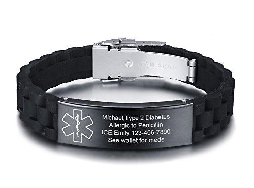 VNOX Custom Engraved-Medical Alert ID Black Silicone Rubber Stainless Steel Adjust Bracelet Wristband,16MM -