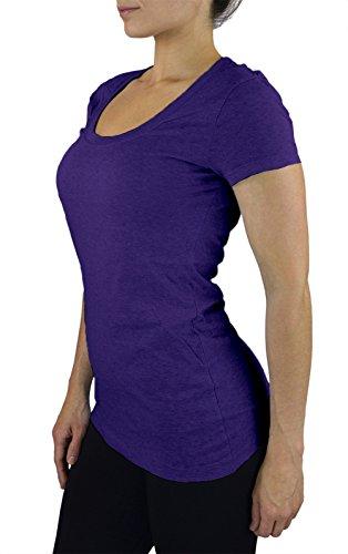 Belle Donne- Women's T Shirt Stretchy Scoop Neck Workout Yoga Cotton T-Shirt - Bright Royal Large -