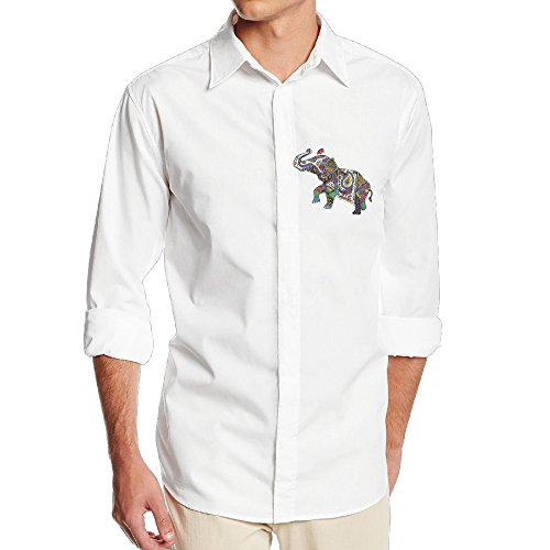 CSECGAR Cute India Treasure Elephant Mens Long Sleeve Button Down Collar Dress Shirt
