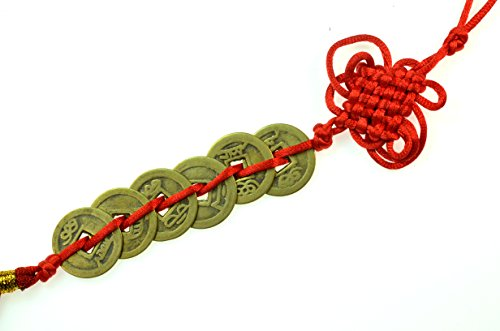 (LUOS Feng Shui 6 coins with infinity mystic knot hanging tassel - brings prosperity and luck )
