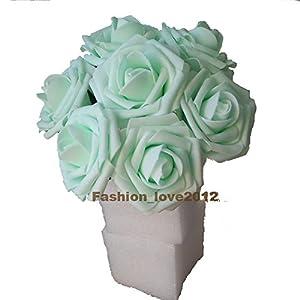 50 pcs Artificial Flowers Foam Roses for Bridal Bouquet Bouquets Wedding Centerpieces Kissing Balls (Mint)