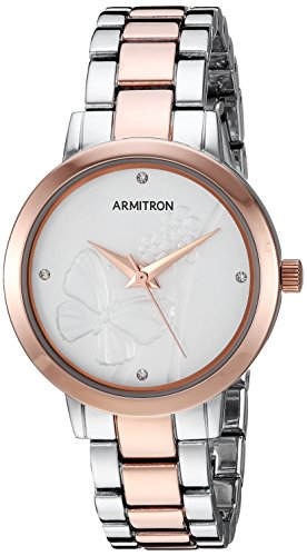 Armitron Women's 75/5510SVTR Swarovski Crystal Accented Rose Gold-Tone and Silver-Tone Bracelet Watch