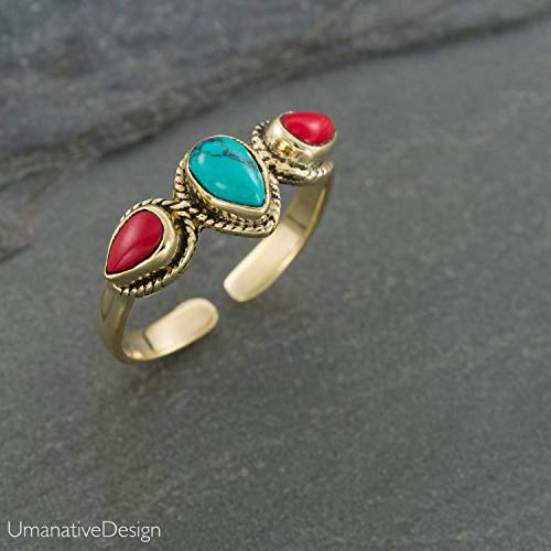 - Boho Gold Brass Ring With Turquoise and Red Coral Stones, Open and Adjustable Tribal Oval Stone Ring, Hippie Ethnic Handmade Natural Stone Ring, Unisex Indian Jewelry For men and women