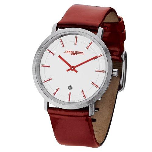 Jorg Gray JG2700-13 -Unisex Slim Watch, Swiss 2 Hand Mvt, Date Display, Leather Straps