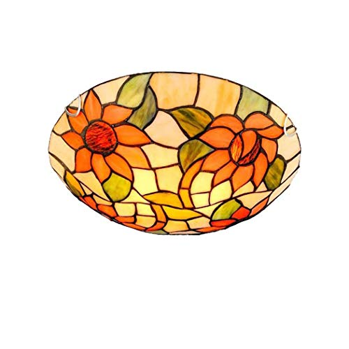 ZTJ-Lighting LED Tiffany Style Ceiling Lights,Stained Glass Ceiling Lamp ,85-265V,Sun Flower Decoration Flush Mount Fixtures Light for Bedroom,Living Room,Hallway,Corridor (Color : E27, Size : 30cm)
