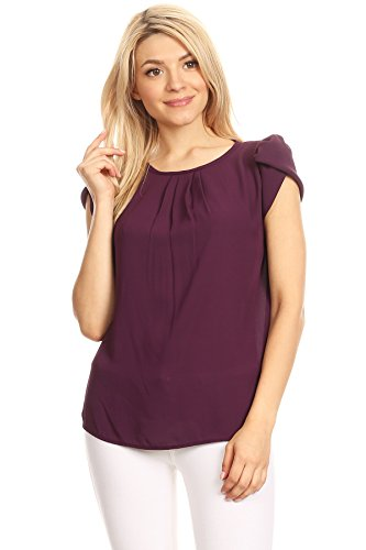 - VIA Jay women'sBasic Casual Simple Short Puff Sleeve Relaxed Blouse TOP (X-Large, Dark Plum)