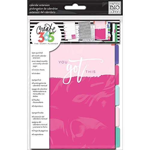 me & my BIG ideas 6 Month Calendar Extension - The Happy Planner Scrapbooking Supplies - 6 Pre-Punched Dividers - Undated Monthly & Weekly - 2 Sticker Sheets with Months and Numbers - Mini Size
