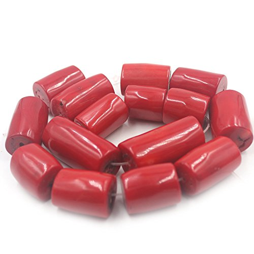 SR BGSJ Natural Freeform Column Red Sea Bamboo Coral Gemstone Jewelry Making Loose Beads Strand 15