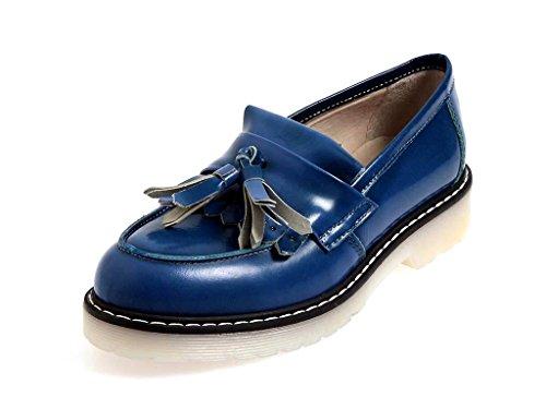 BLACKONE Italie mocassin chaussures en cuir mocassins chaussures femmes 9506 Bleu - Bleu, 40 EU
