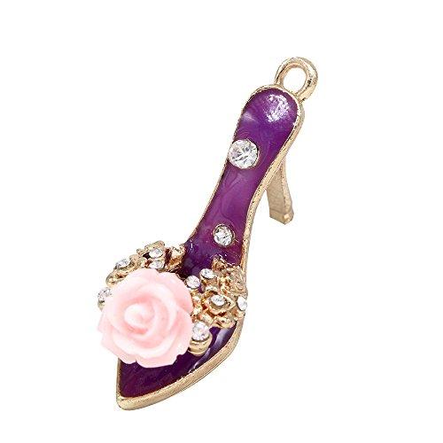 - Creative DIY Rose Purple Lady Sandal High Heel Shoe Charms Pendants Wholesale (Set of 3) MH174