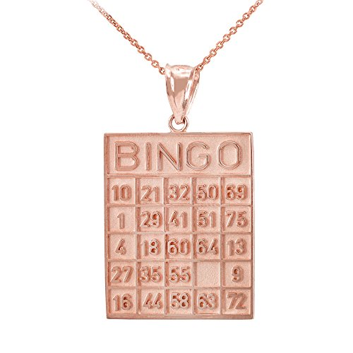 Solid 14k Rose Gold Bingo Card Square Tile Pendant Necklace, (14k Gold Bingo Card Charm)