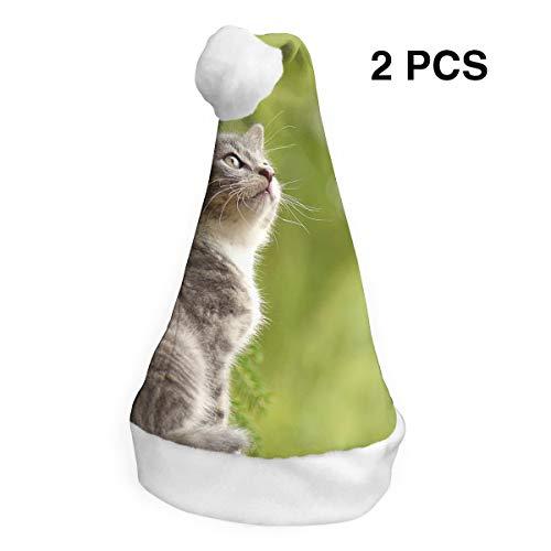 YISHOW Curious Wildcat Animal Cat Classic Handmade Soft Christmas Hat and Santa Hats (2pcs) ()