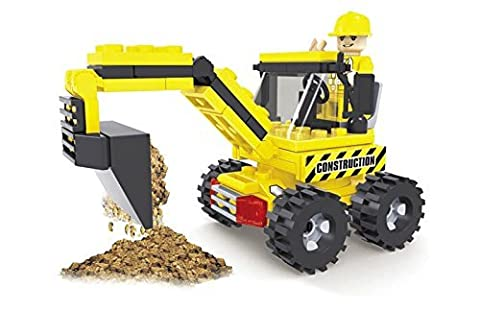 Ausini 84pc Construction Tough Tracks Excavator Tractor with Action Figure Building Bricks Educational Blocks Set Compatible to Major Brands – Great Gift for (The Tough Kids Social Skills)