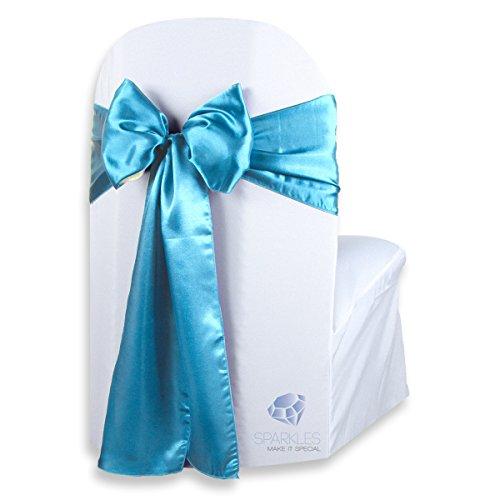 Any Sash Color (Sparkles Make It Special 100 pcs Satin Chair Cover Bow Sash - Aqua Blue - Wedding Party Banquet Reception - 28 Colors Available)