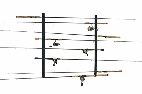 Organized Fishing Velcro Horizontal Wall Rack for Fishing Rod Storage, Holds up to 10 Fishing Rods, VS-005