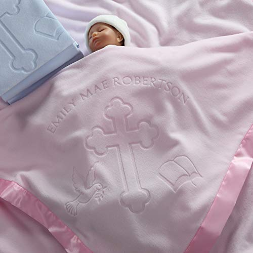 Baptism/Christening Baby Blanket Gift for Girls - Personalized Cross and Bible Religious Design for $<!--$23.94-->