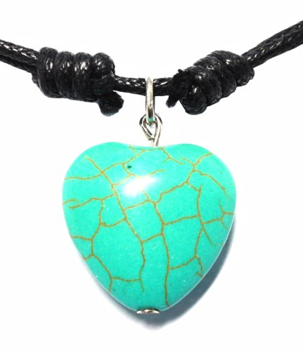 BDJ Howlite Turquoise Bead Heart Pendant Cord Adjustable Necklace 16 - Outlet Tiffany Official
