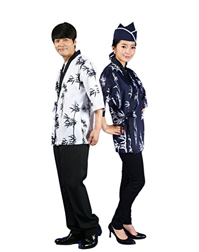 RZMY Unisex Sushi Chef Coat 3/6 Sleeve Kinomo Japanese Restaurant Uniform Jacket Ties up