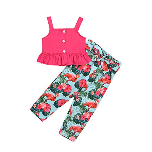 2Pcs/Set Strap Summer Outfit for Kids Toddler Baby Girl Tank Top + Flamingos Printed Pants Outfits Clothes (Flamingos, 1-2 Years)