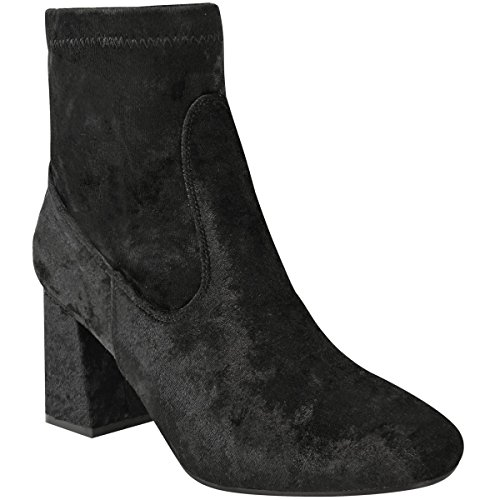 Fashion Thirsty Womens Ladies Chunky Chelsea Block Low Heel Ankle Boots Velvet Casual Shoes Size Black Velvet