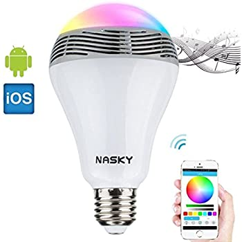 Nasky wireless bluetooth 4 0 speakers e27 led light lamp for Bluetooth controlled light bulb