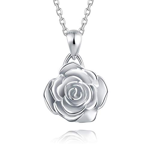 - BEILIN 925 Sterling Silver Loves Rose Pendant Necklace Jewelry Gifts Girls Women (Silver)