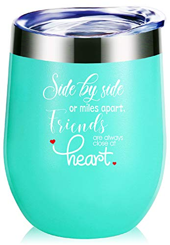 Best Friend Gifts.Side By Side or Miles Apart,Friends Are Always Close at Heart Wine Glass Tumbler.Long Distance Friendship Gifts,Best Birthday Gifts,Christmas Gifts for Women Girls Mug