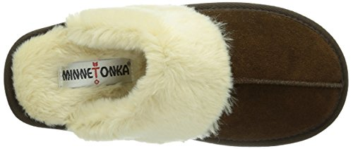 Women's Chocolate Chesney Brown Open Back Scuff Slippers Minnetonka 8Ox0vx