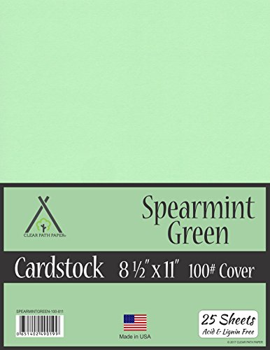 Spearmint Green Cardstock - 8.5 x 11 inch - 100Lb Cover - 25 Sheets ()