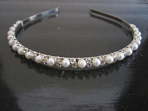 Silver Tiara Glasses (Elegant Wedding Bridal Silver Metal Crystal Rhinestone Glass Pearl Headband Hair Band)