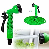 Hk Villa Expandable Magic Flexible Water Hose 50 Ft / 15 M EU Hose Plastic Hoses Pipe with Spray Gun to Watering Washing Cars(50ft&15m)