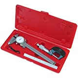 Anytime Tools Professional Machinist Inspection Tool Set: DIAL CALIPER / MICROMETER / Stainless Steel Ruler