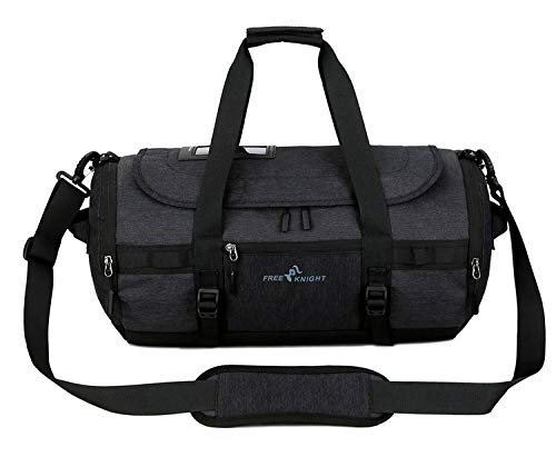 Selighting Sports Gym Bags Waterproof Small Duffel Bag with Shoe Compartment Travel Overnight Weekend Bags for Men Women (One Size, Black)