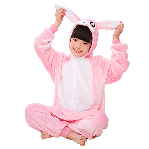 Kids Onesie Pajamas Hoodie Animal Costume Cosplay Pink Bunny XL]()