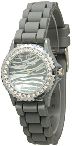 - Geneva Silicone Zebra Animal Design Print Watch Unisex Crystals Rhinestones Wrist Watch Small Size Dial (Gray)