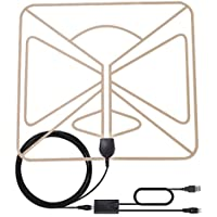 HDTV Antenna, AmGood 50 Miles Range 1080P Digital TV Antenna Indoor with Detachable Amplifier & 9.8ft Coax Cable for Highest Performance - Upgraded Version Better Reception - Super Thin-Transparent