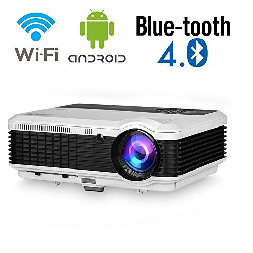 EUG Smart Wireless Bluetooth HD Projector,X88+ Android Bluetooth Projector with Wifi,4600 Lumen Multimedia LED LCD WXGA Video Projector 1080P Home Cinema Theater Movie Game HDMI USB TV DVD Proyector