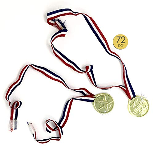 72 Pieces Gold Medals - Award Medals - Winner Medals - Winner Award Ribbons Necklaces for Kids - Velcro Closure Neck Ribbons - For Kids - Bulk Wholesale lot -