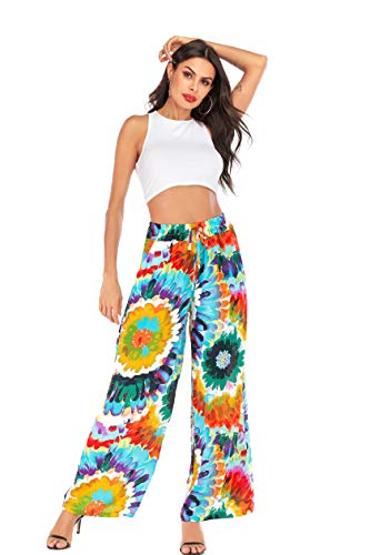 - Love Welove Fashion Women's Summer Wide Leg Elastic High Waist Printed Boho Hippie Palazzo Pants Plus Size (L, Colorful Sunflower)