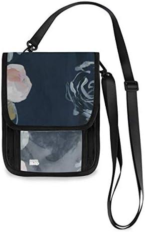 トラベルウォレット ミニ ネックポーチトラベルポーチ ポータブル 水彩 花柄 小さな財布 斜めのパッケージ 首ひも調節可能 ネックポーチ スキミング防止 男女兼用 トラベルポーチ カードケース