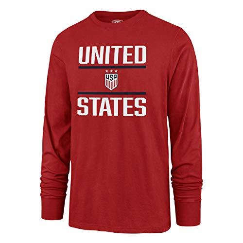 National Team Long Sleeve Tee - U.S. Soccer Women's National Team Men's OTS Rival Long Sleeve Tee, Double Bar Red, Large